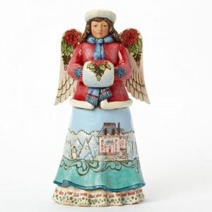 Anjo do Inverno com Poinsettias