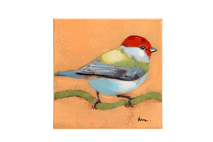 Quadro Aquarela Birds Orange