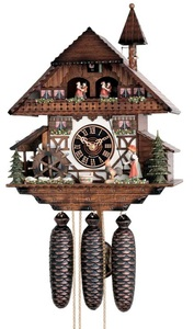Relógio cuco alemão, modelo chalé, corda semanal com música